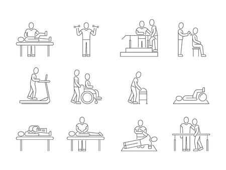 Physiotherapy and rehabilitation, exercises and massage therapy vector line medical icons