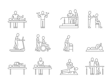 Physiothérapie et rééducation, exercices et icônes de médecine ligne médicale de massothérapie vecteur Vecteurs