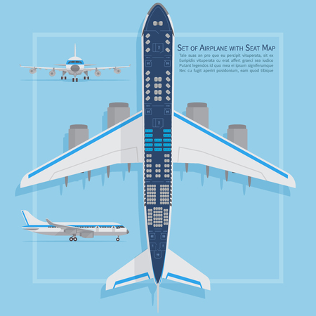 Aircraft seats plan top view. Business and economy classes airplane indoor information map. Vector illustration