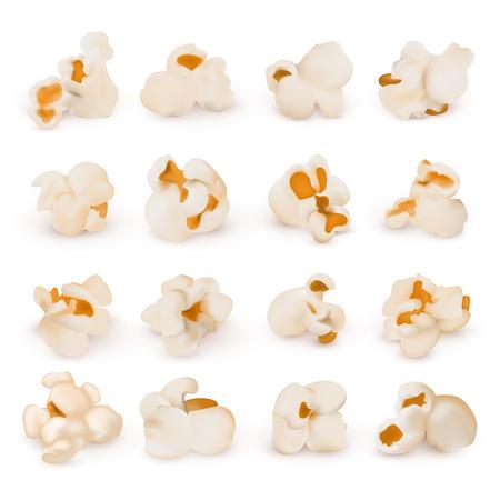 Macro realistische popcorn geïsoleerde vector set Stock Illustratie