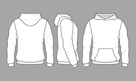 Male hoodie sweatshirt in front, back and side views