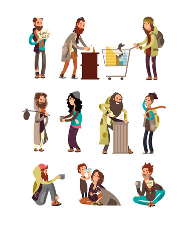 Poor unhappy homeless cartoon people needing financial help. Vector characters set Vettoriali