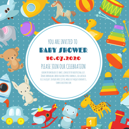 Baby shower, born celebration vector background or invitation card with kids toys. Illustration