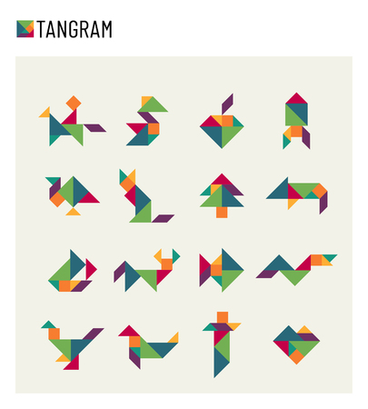 Tangram children brain game cutting transformation puzzle vector set illustration.