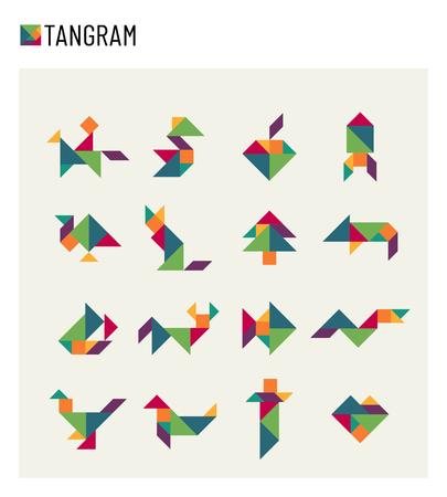 Tangram children brain game cutting transformation puzzle vector set illustration. Stock Illustratie