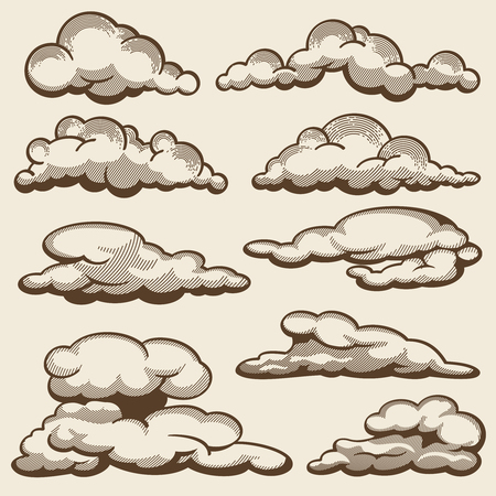 Hand drawn clouds in vintage style vector set illustration. Çizim