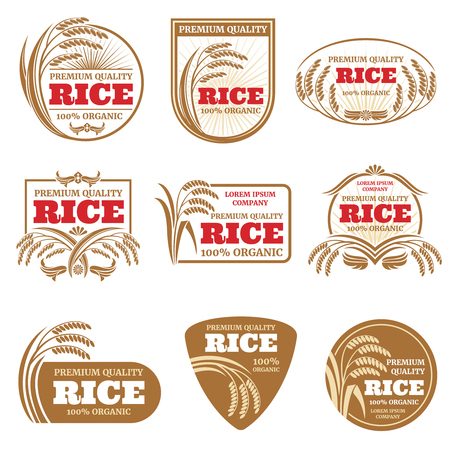 Paddy rice vector labels. Organic natural product emblems. Rice label and emblem, organic farm product illustration Illustration
