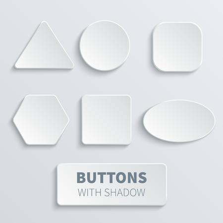 白い3Dブランクの正方形および丸いボタンのベクトルセット  イラスト・ベクター素材
