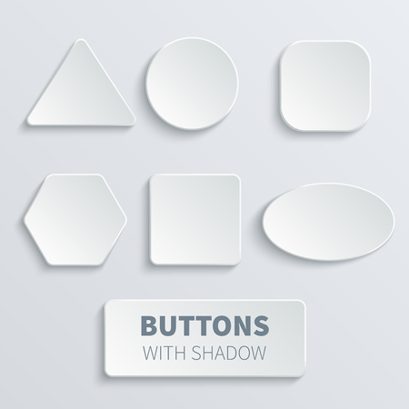 White 3d blank square and rounded button vector set Reklamní fotografie - 93452258