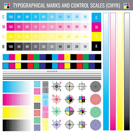 Kalibratie afdrukken snijtekens. CMYK-kleurentest vectordocument. Illustratie van kalibratiekleur cmyk