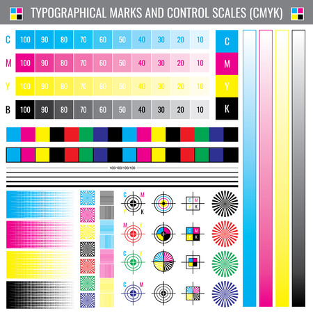 Calibration printing crop marks. CMYK color test vector document. Illustration of calibration color cmyk