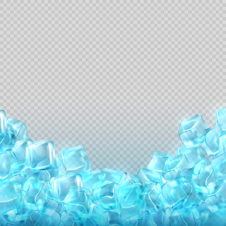 Realistic ice cubes isolated on transparent background. Vector food and drink ads template. Ice cube cold transparent illustration