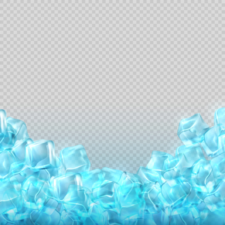 Realistic ice cubes isolated on transparent background. Vector food and drink ads template.