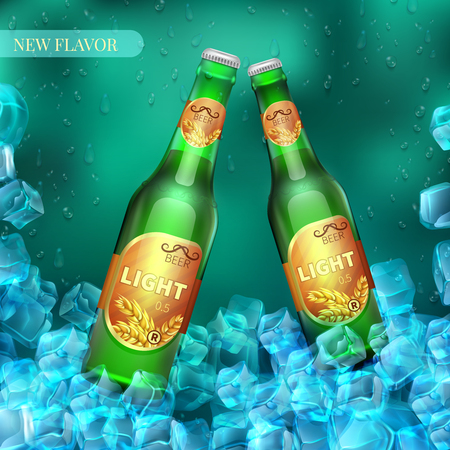 Frozen light beer bottles with ice cubes. Product vector retail background. Illustration of beer in cold ice banner and poster