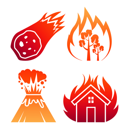 Fire natural disaster colorful vector icons in red and orange illustration