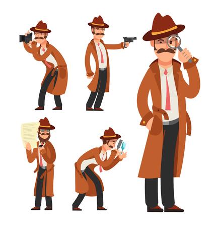 Détective privé de dessin animé. Jeu de caractères vectoriels inspecteur de police Vecteurs