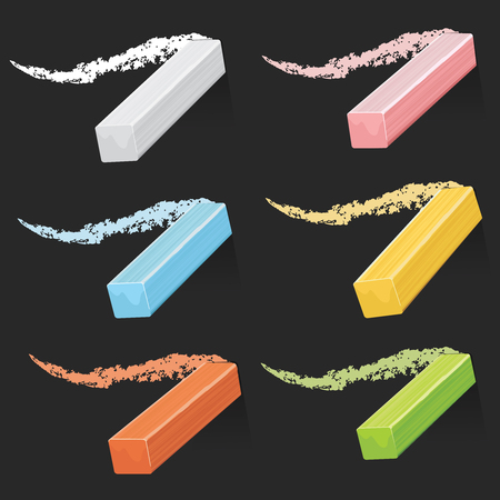 Colored artist chalks, pastel sticks with strokes on blackboard vector set Иллюстрация