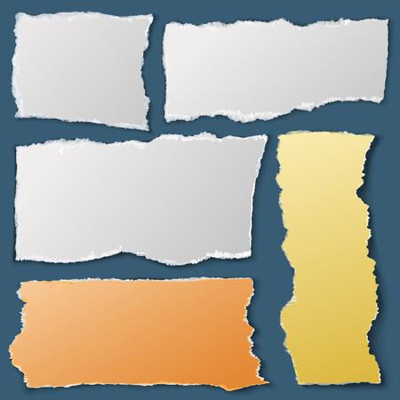 Pezzi di carta strappati bianchi. Documenti strappati per notebook. Rottami di raccolta materiale vettore Archivio Fotografico - 93891906