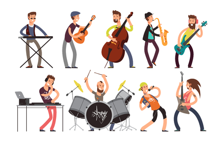 Rock n roll music band vector characters with musical instruments. Musicians playing music Imagens - 93866604