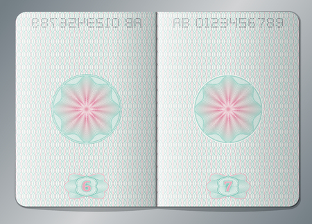 Paper passport open blank pages vector template Illustration