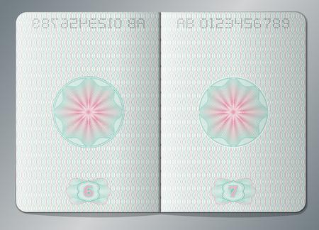 Paper passport open blank pages vector template Stock Illustratie