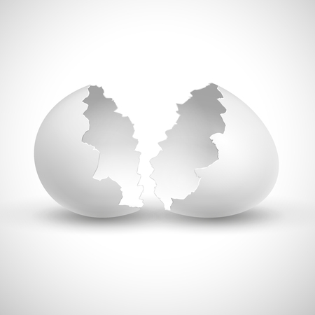 White opened easter with shell broken isolated vector illustration. Shell broken egg, eggshell fragile empty Ilustração