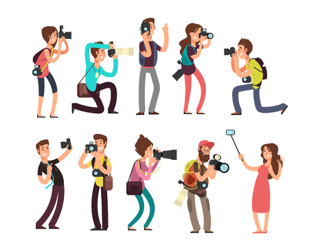 Funny professional photographer with camera taking photo in different poses vector cartoon characters set Vektorové ilustrace
