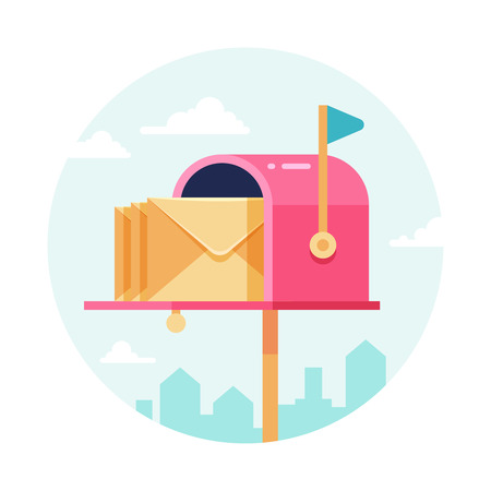 Letterbox with envelopes. Vector mail box. Postal sending and receiving concept Illustration
