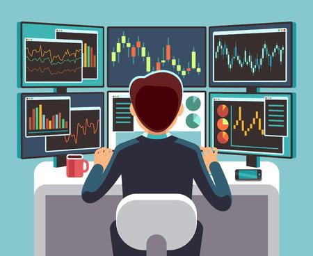 Operador del mercado de valores mirando múltiples pantallas de computadora con gráficos financieros y de mercado. Concepto de vector de análisis empresarial.