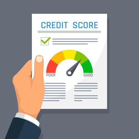 Businessman hand holding credit history finance document with score indicator. Mortgage approval vector concept.