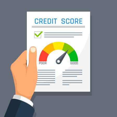 Zakenman hand met krediet geschiedenis financiën document met score-indicator. Hypotheek goedkeuring vector concept.