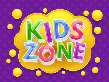 Kids zone graphic vector banner for children's playroom.
