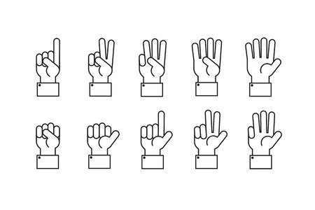 Hand with counting fingers vector line symbols. 矢量图像