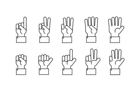 Ręka z liczeniem palców wektorowej linii symboli.