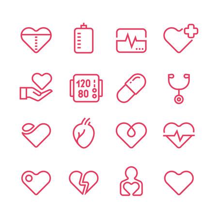 Cardiology medicine vector line icons.