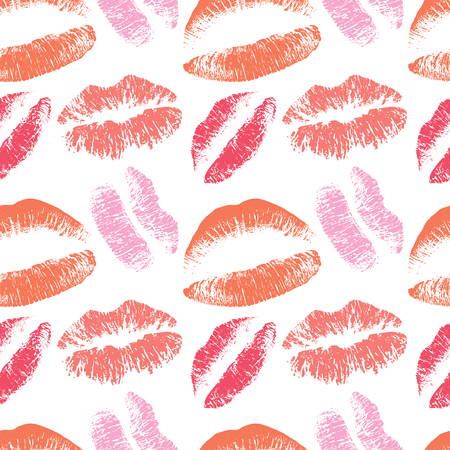 Pink lips kiss vector seamless pattern for valentines day february background Illustration
