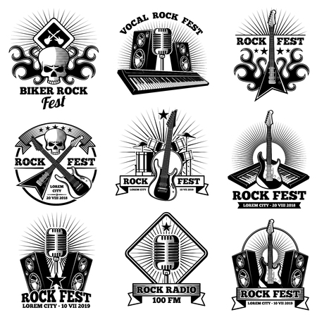 Retro rock n roll band labels vector illustration set