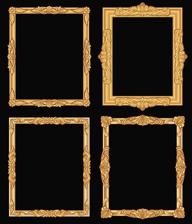 Vintage gold ornate square frames vector illustration set