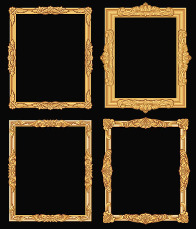 Vintage gold ornate square frames vector illustration set