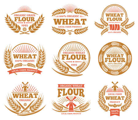 Wheat grain product and bread vector labels. Nature wheat ears badges