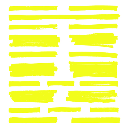 Hand drawn yellow highlight marker lines vector illustration set