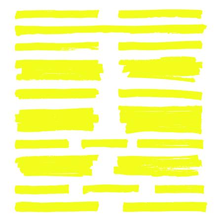 Hand drawn yellow highlight marker lines vector illustration set