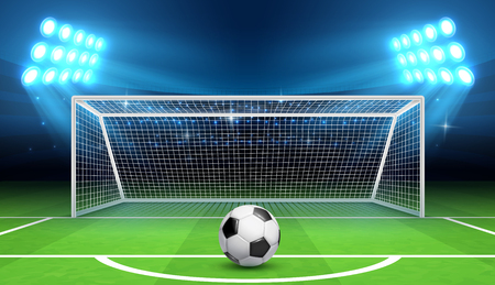 Soccer football championship vector background with sports ball and goals. Penalty kick concept