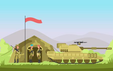 우리 군대 군인 유니폼 총. 만화 전투. 군사 벡터 배경입니다.