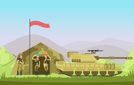 Us army soldier with gun in uniform. Cartoon combat. Military vector background.
