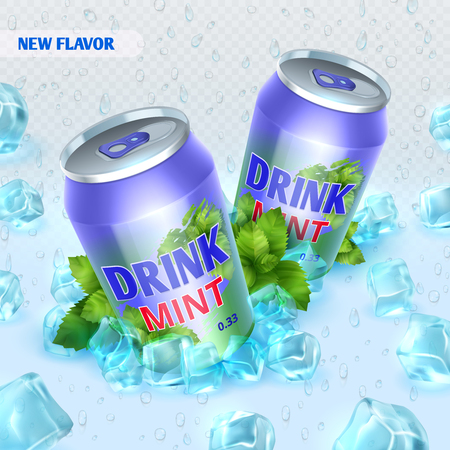 Fresh ice drink vector background with ice cubes.