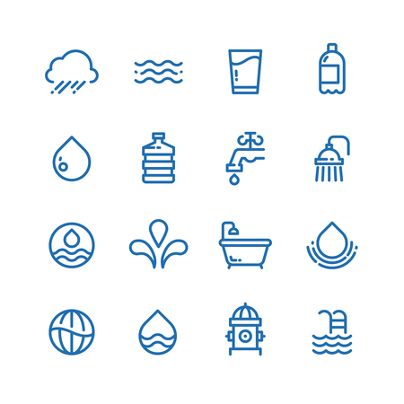 Crystal clean water drops, fresh drinks and hygiene line vector icons.
