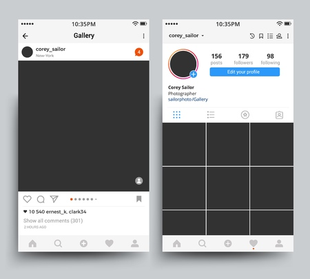 Smartphone photo frames display of mobile application inspired by Instagram vector template.