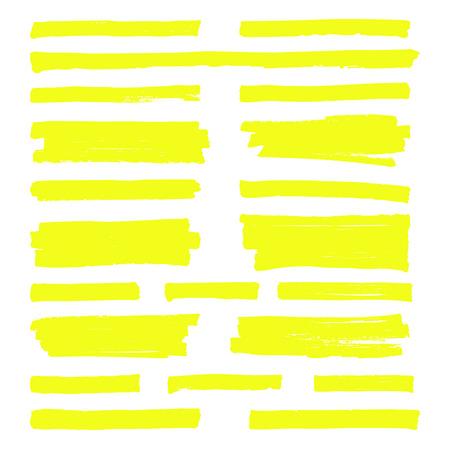 Dessinés à la main en jaune surlignent les lignes de repère. Coups de surligneur isolés sur fond blanc vector ensemble Banque d'images - 93890789