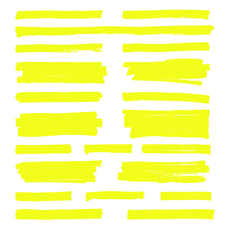 Hand drawn yellow highlight marker lines. Highlighter strokes isolated on white background vector set